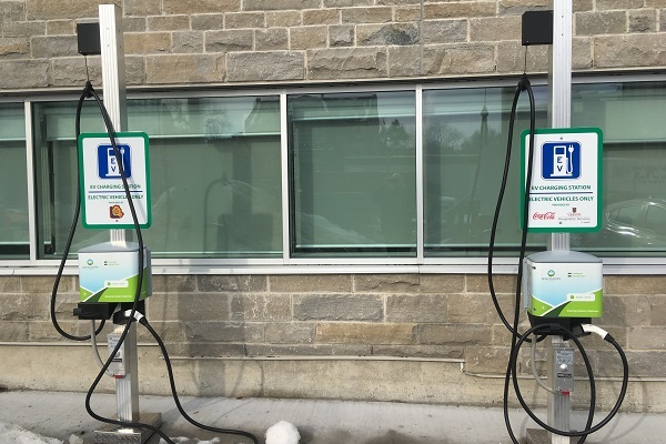 Over 60 new electric vehicle charging stations will be deployed across campus. This deployment builds on the two existing electric vehicle charging stations located in front of the School of Kinesiology and Health Studies. (Photo: Physical Plant Services)
