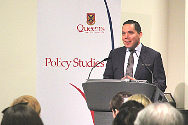 Natan Obed, President of the Inuit Tapiriit Kanatami, shares his knowledge of Inuit democracy and needs of Inuit communities. (Photo: University Communications)
