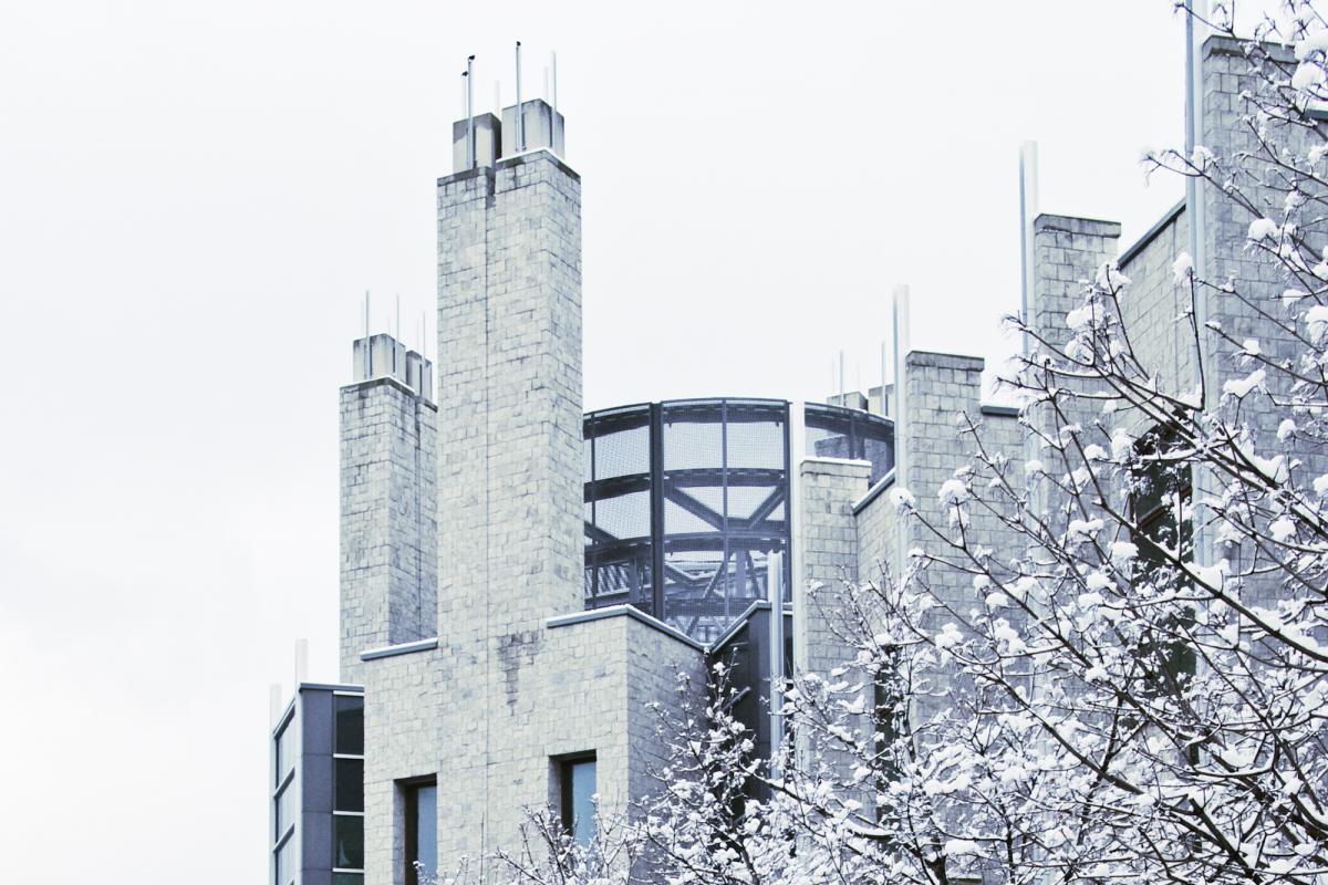Stauffer Library in winter.