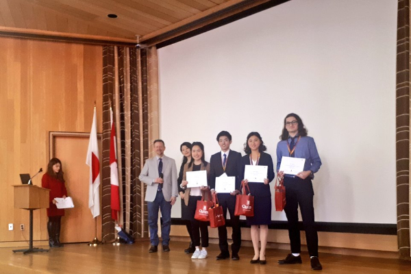 JACAC participants making their final presentations at the Japanese Embassy in Ottawa.