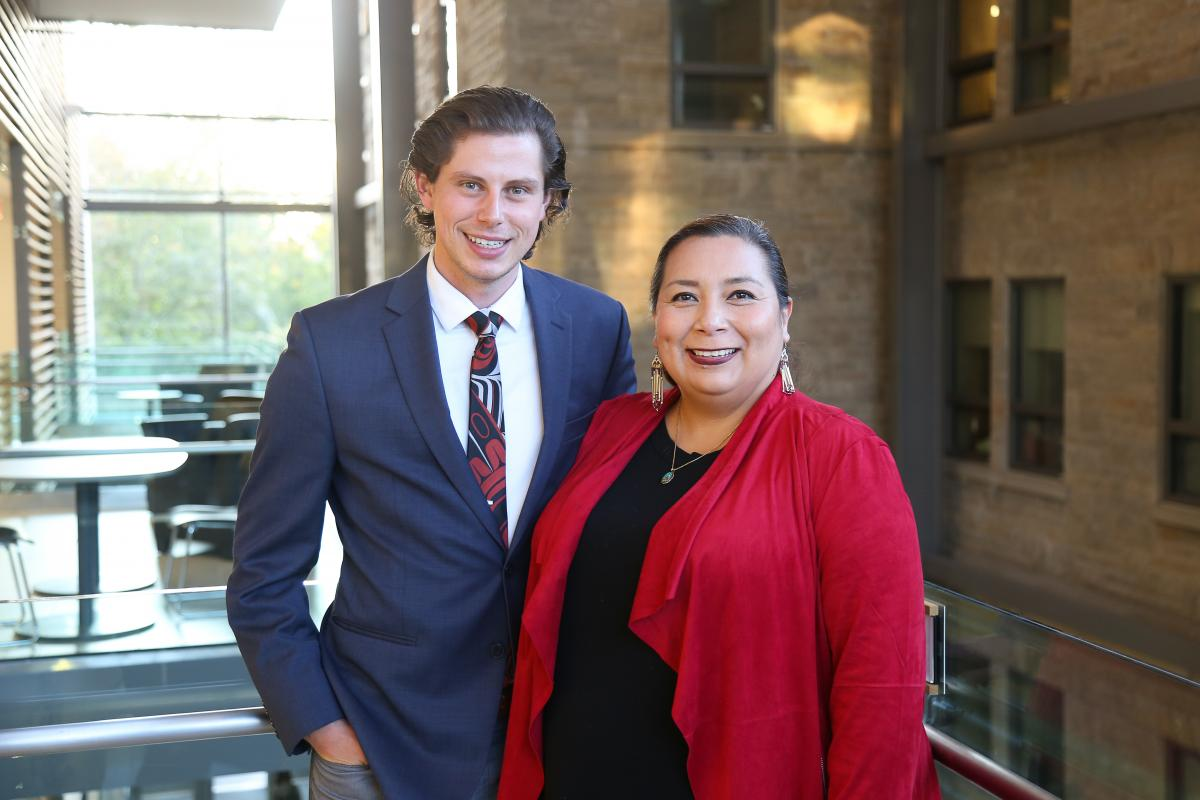 Medical students Thomas Dymond with Ann Deer, a Indigenous Recruitment and Support Coordinator at Queen's.