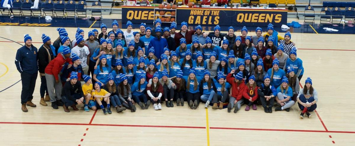 Student athletes pose in support of Bell Let's Talk Day