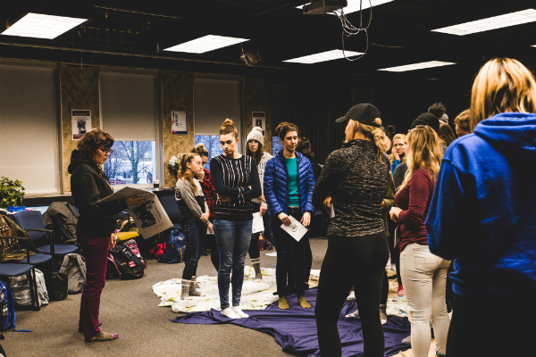Education students participate in a KAIROS Blanket Exercise