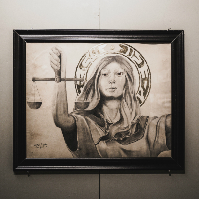 "Grade 11 student, Kristian Murphy's illustration ""Let Justice Speak"" on display at Queen's University's Faculty of Education."