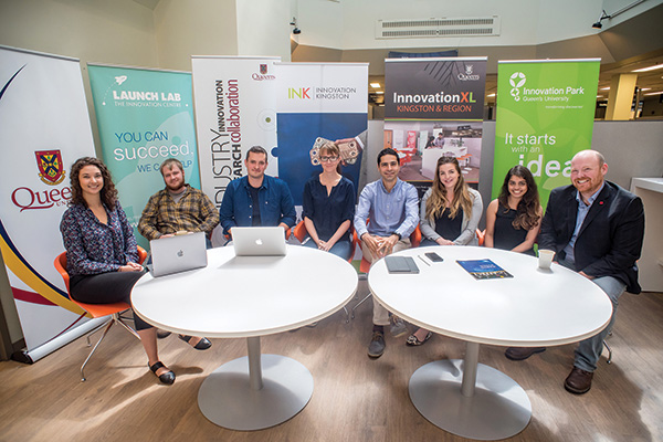 """Based at Innovation Park, the Limestone Analytics team includes, from left: Caroline Godin; Jay MacKinnon; Jordan Nanowski; Jenny Watt; Bahman Kashi; Alexandra Galvin; Aalisha Lakdawala, Christopher Cotton."""