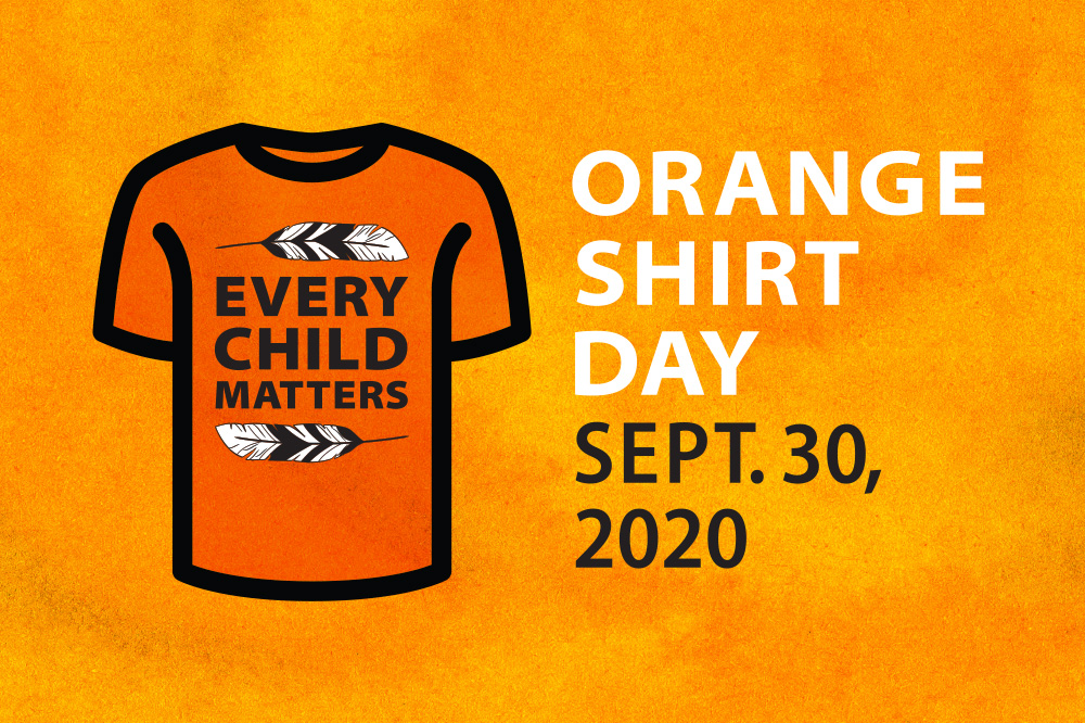"Orange Shirt Day t-shirt illustration that reads ""every child matters"""