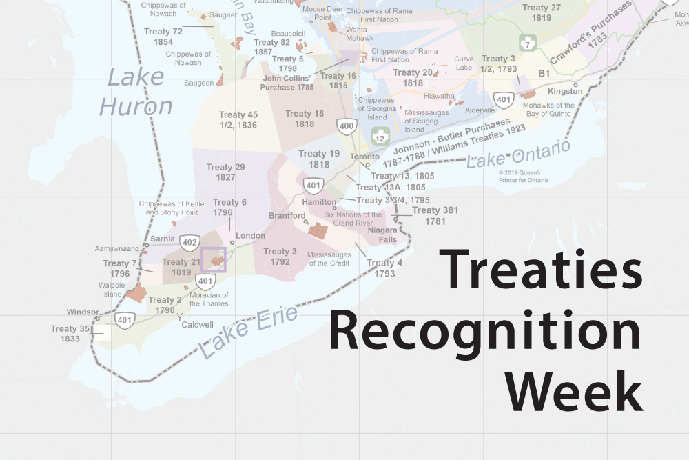 Map of treaty regions in Southern Ontario.