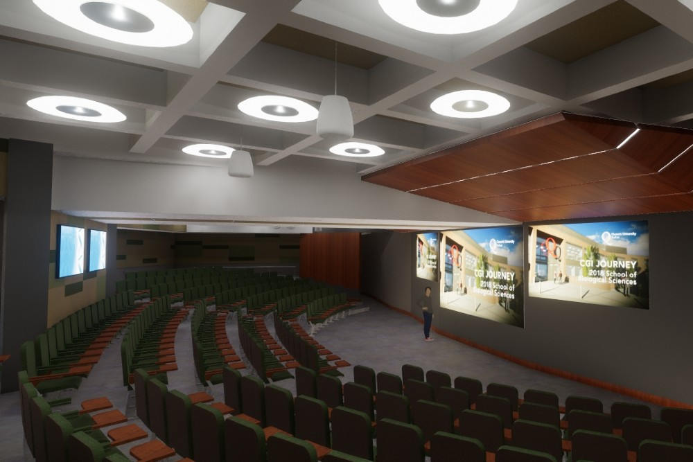 Digital rendering of new lecture hall in Biosciences Complex