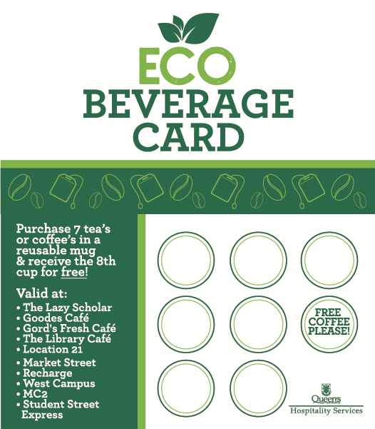 The ECO Beverage Card, now available at 10 locations across campus.