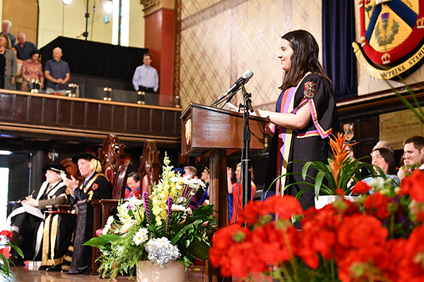 Recotr Alex da Silva addresses graduates during convocation