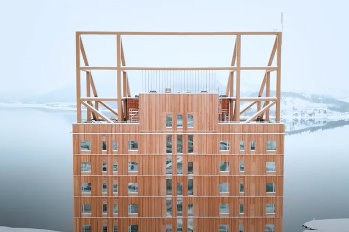 Wood skyscraper in Norway