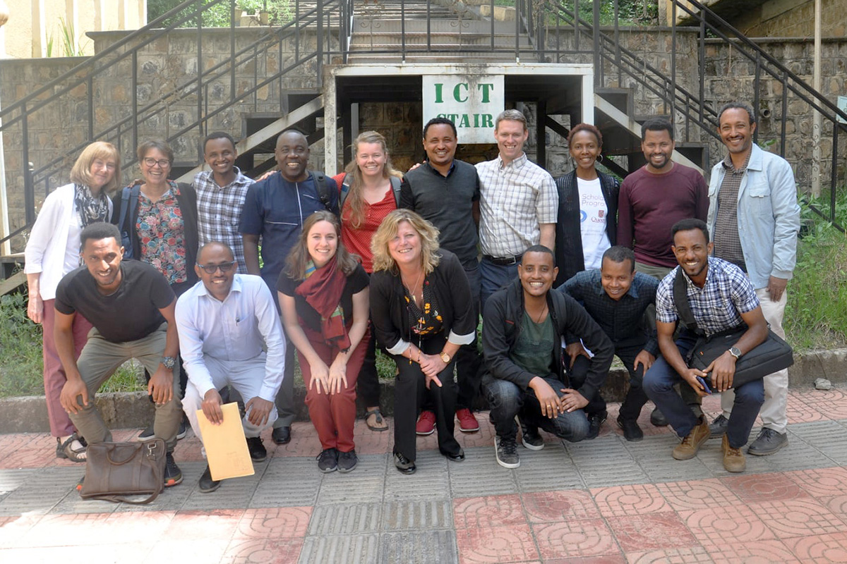 Mastercard Foundation workshop participants from Queen's and the University of Gondar gather for a team photo in Ethiopia.