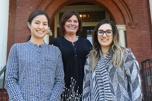 The Office of Global Health recently became an institutional member of the Consortium of Universities for Global Health. From left, Linda Chan, Health Education Research Associate; Jenn Carpenter, Director of the Office of Global Health; Mikaila De Sousa, Program and Events Coordinator.