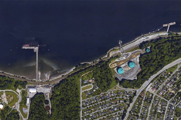 [Aerial view of Trans Mountain marine terminall]