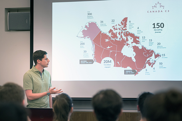 """Queen's student Thomas Dymond explains the Canada C3's route through the Northwest Passage"""
