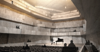 An artist's rendering of the concert hall in the proposed Centre