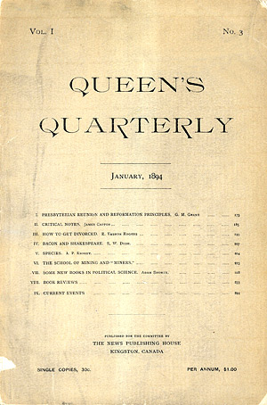 [First issue of Queen's Quarterly]