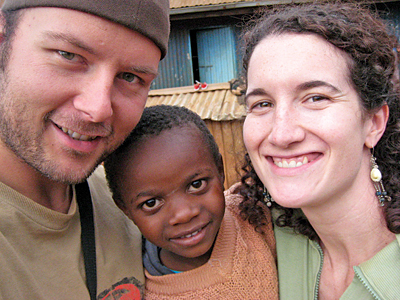 [photo of Jenny Caldwell with her husband Dion and one of their young Kenyan friends]