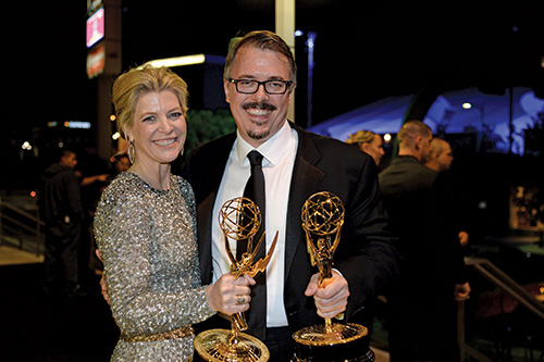 [photo of Michelle MacLaren and Vince Gilligan at the 2013 Emmy Awards ceremony.]