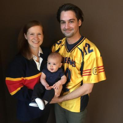 [photo of QUAA president Jeremy Mosher and family]