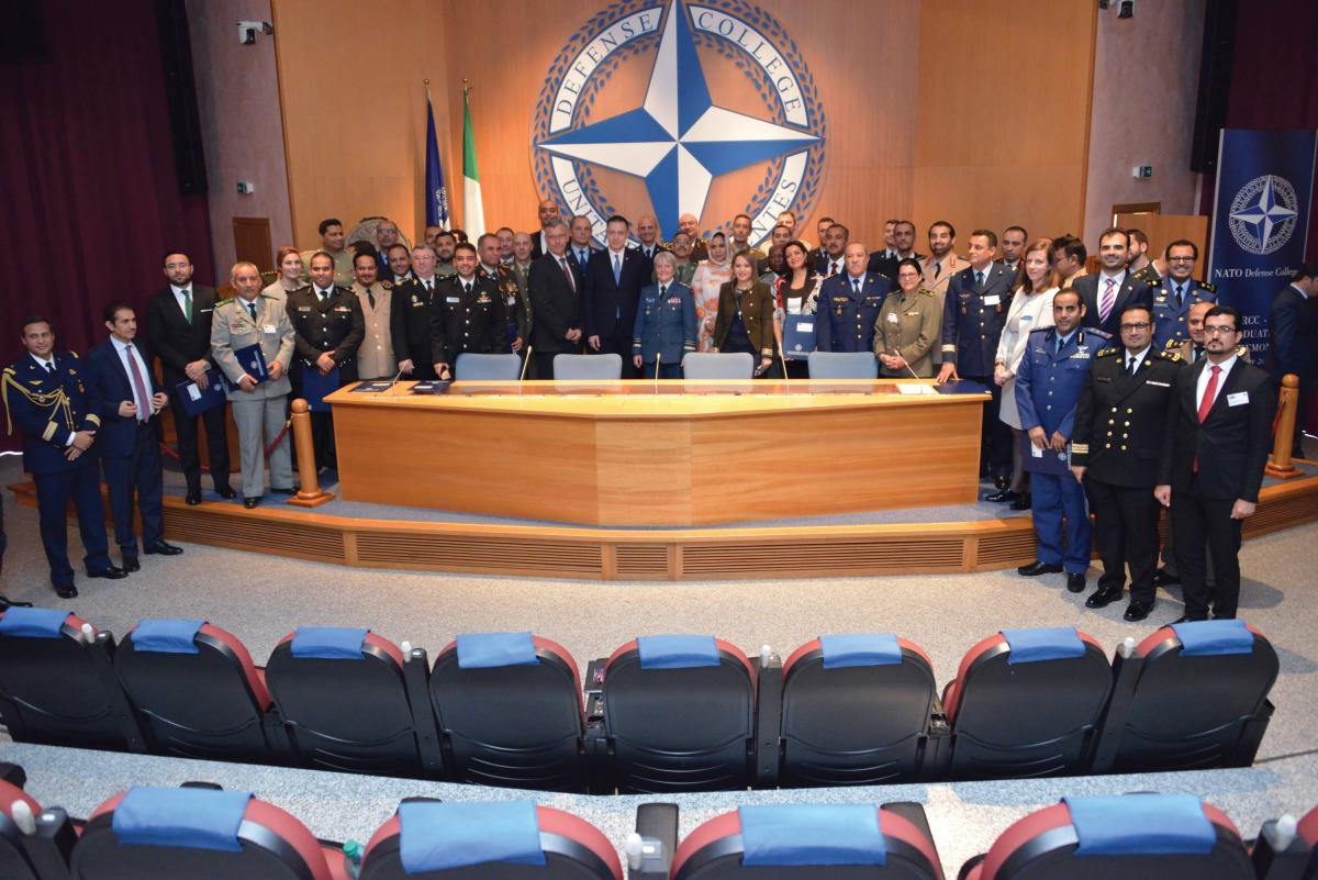 [photo of Lt.-Gen. Whitecross with a class of NATO's Regional Cooperation Course.]