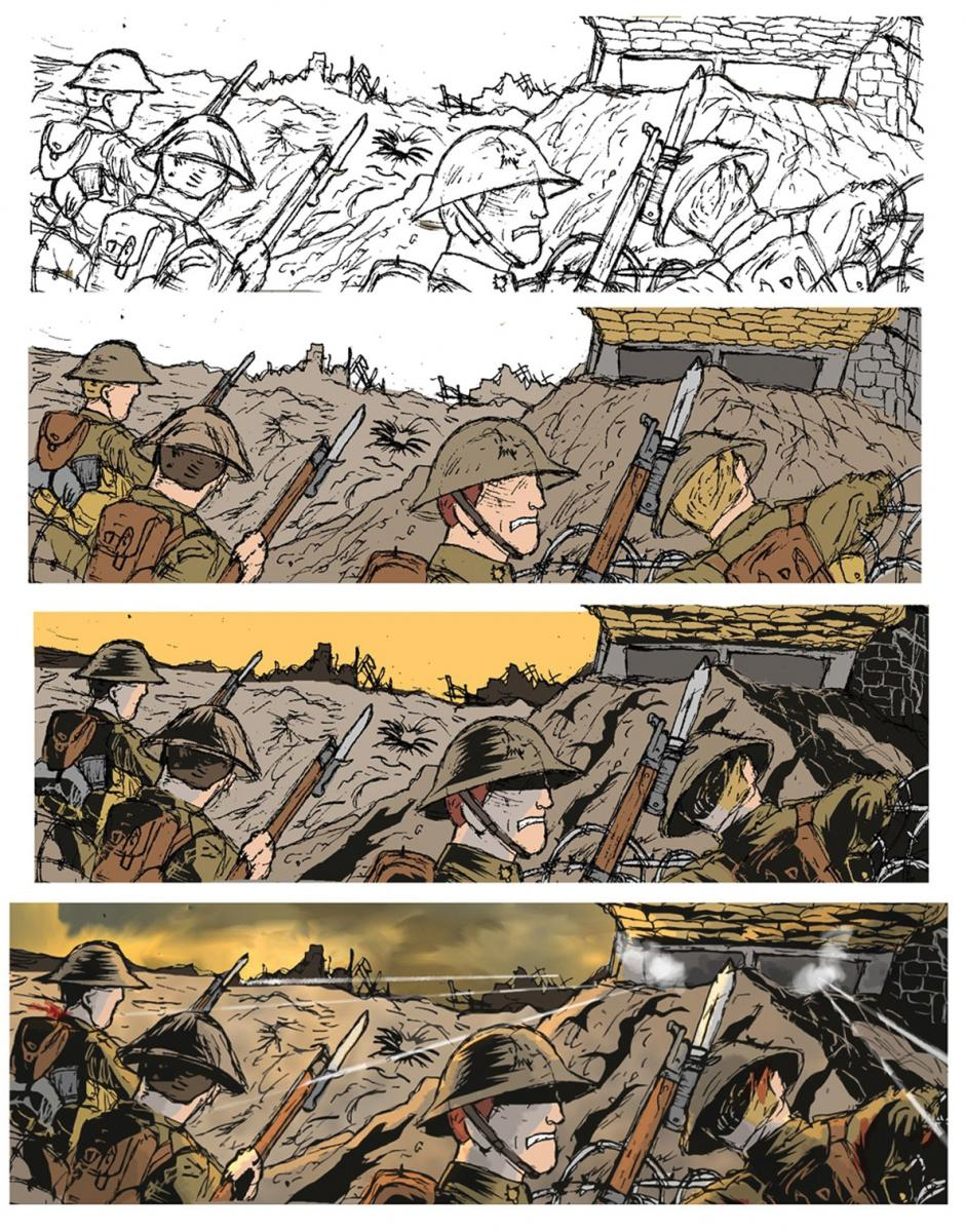 [ALT TEXT:These four images of men in a trench show the four stages that each panel goes through, from a hand drawn outline to digital colourization, to shading, and then lighting.]