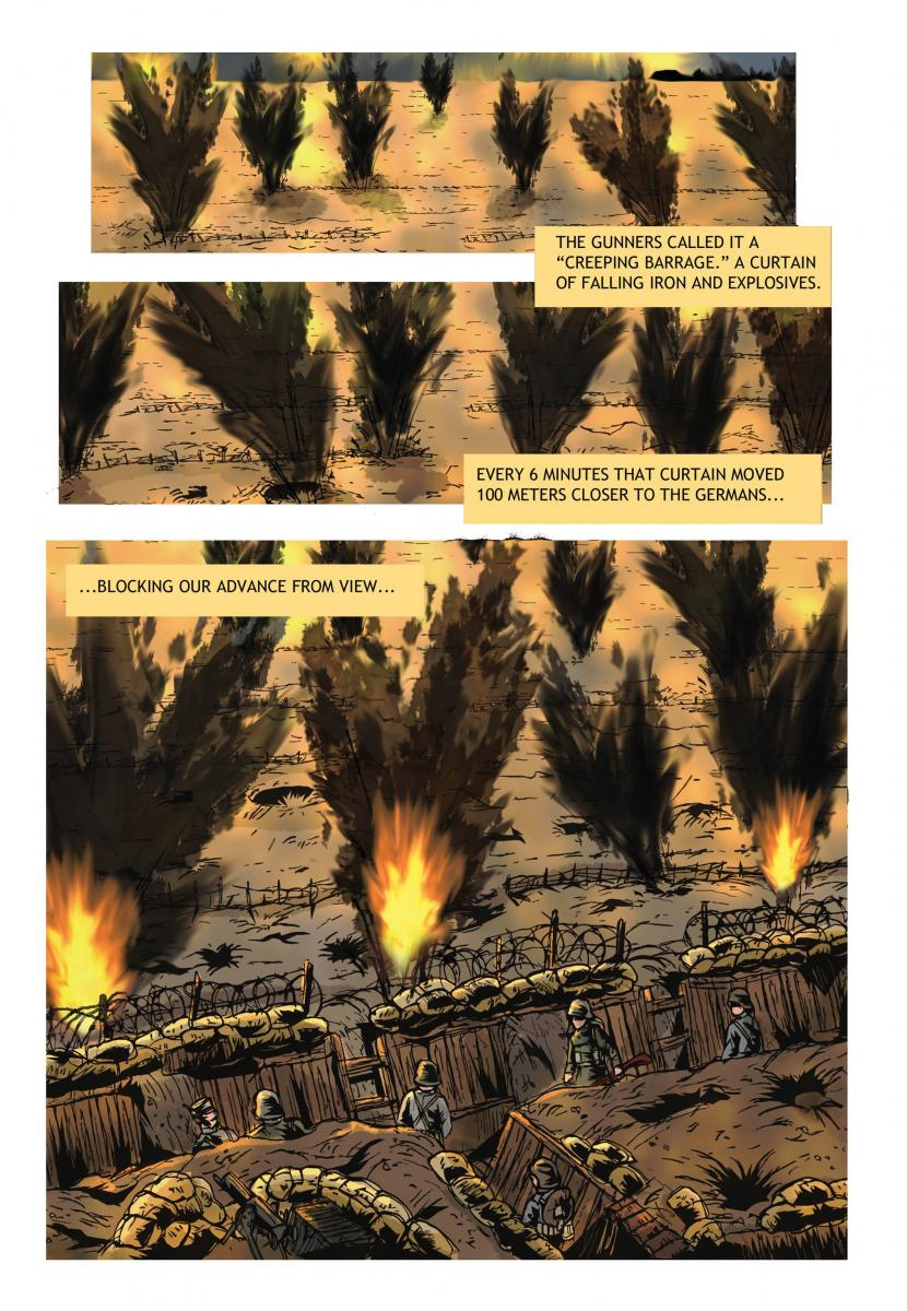 [panels showing the creeping barrage manoeuvre, a curtain of falling iron and explosives.