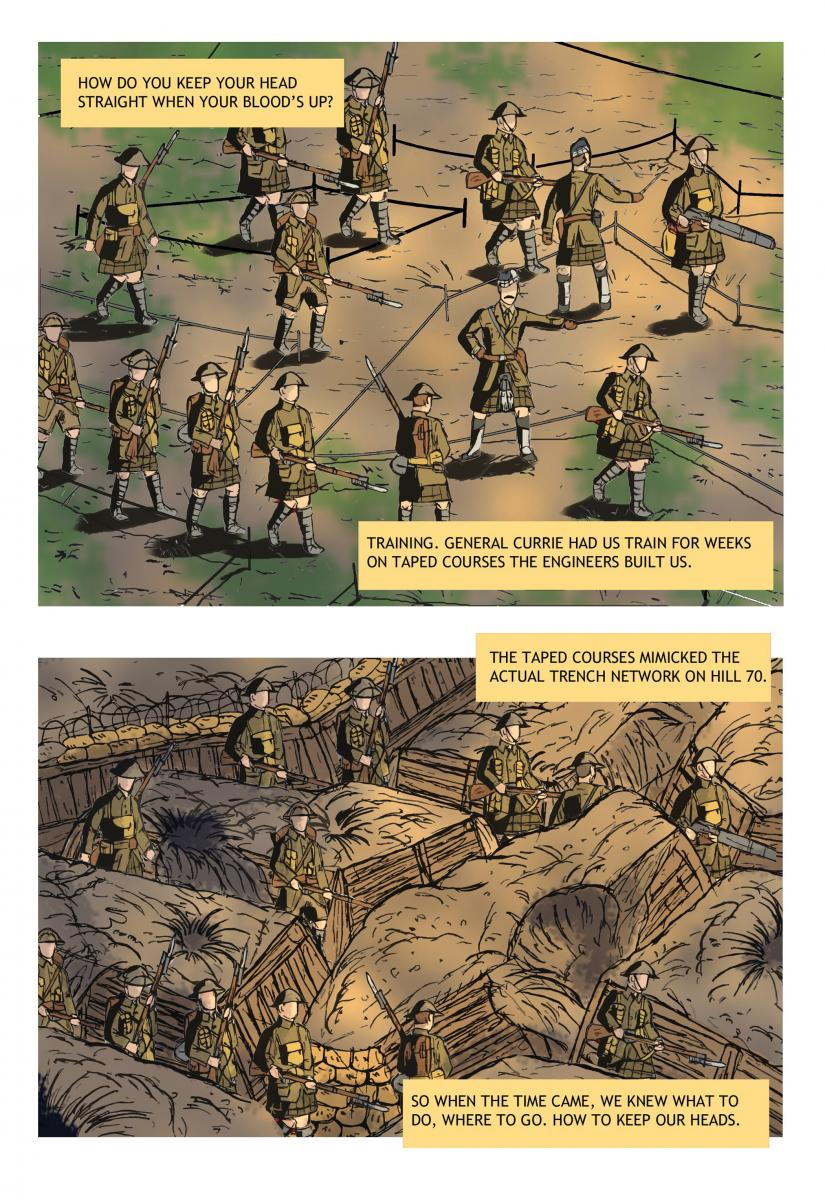 [illustration of Canadian soldiers first training on taped courses, then moving through the same route in the trenches.]