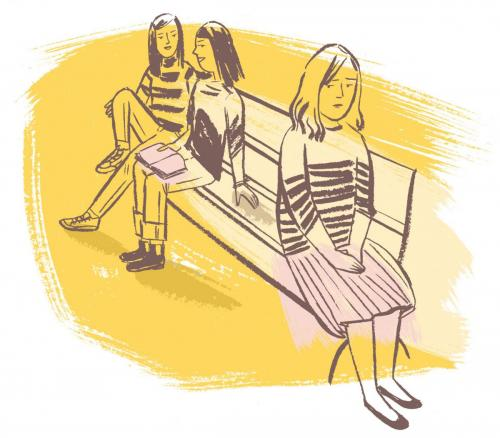 [illustrations of three teens on a bench]