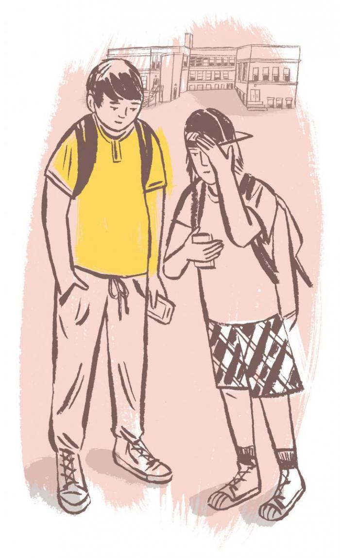 [illustration of two kids looking at their phones]