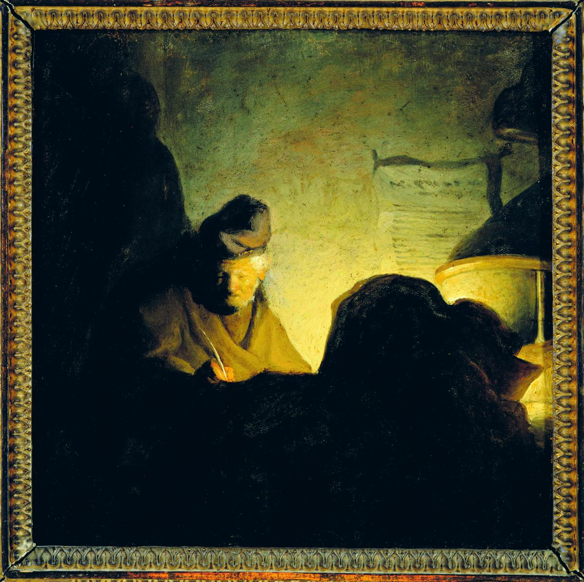 [photo of  Scholar by Candlelight, a painting by Rembrandt or one of his circle]