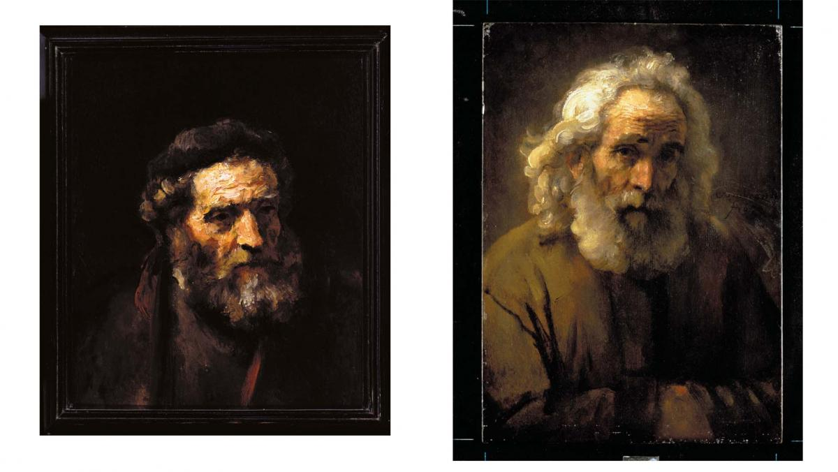 [images of two paintings by  Rembrandt or one of his circle]