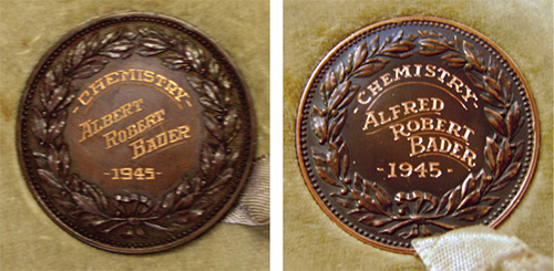 [photo of Alfred Bader's chemistry medal]