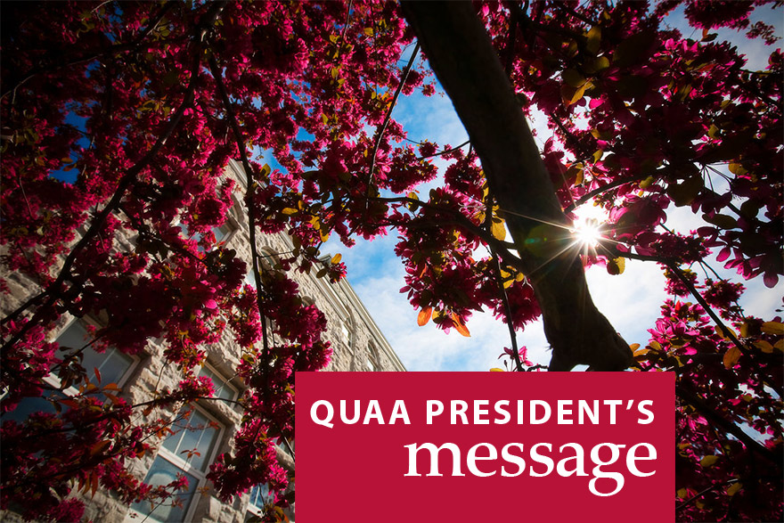 [photo with graphic text for QUAA President's message]