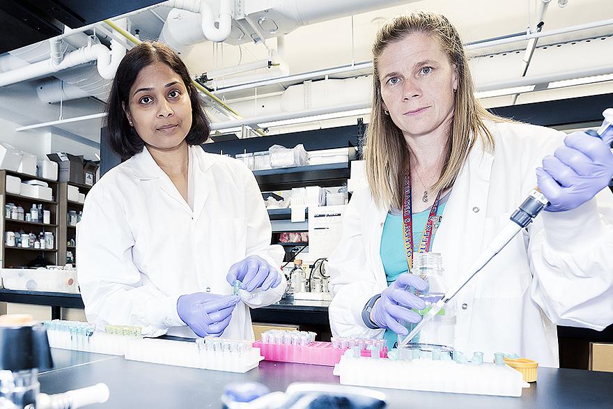 [Dr. Madhuri Koti (left) and lab technologist Nichole Peterson]