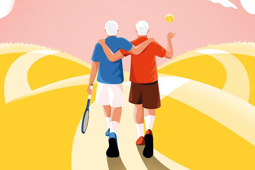Two elderly men walk down a sunny path with their arms around each other's shoulders. One holds a tennis racket, the other tosses a tennis ball.