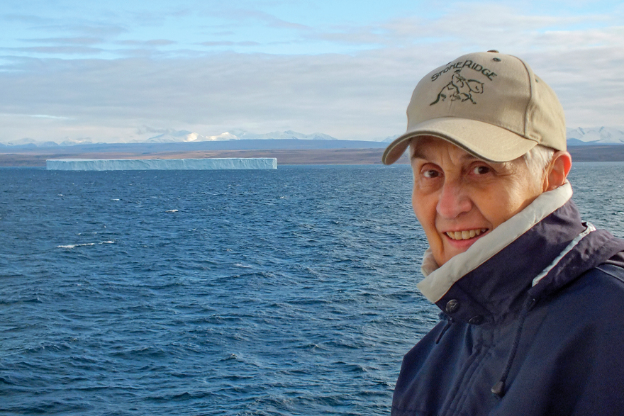 Phyllis Durnford smiles while overlooking the Arctic Ocean.