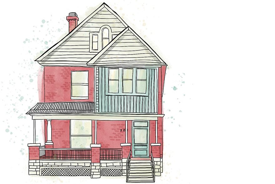 Illustration of a red brick house