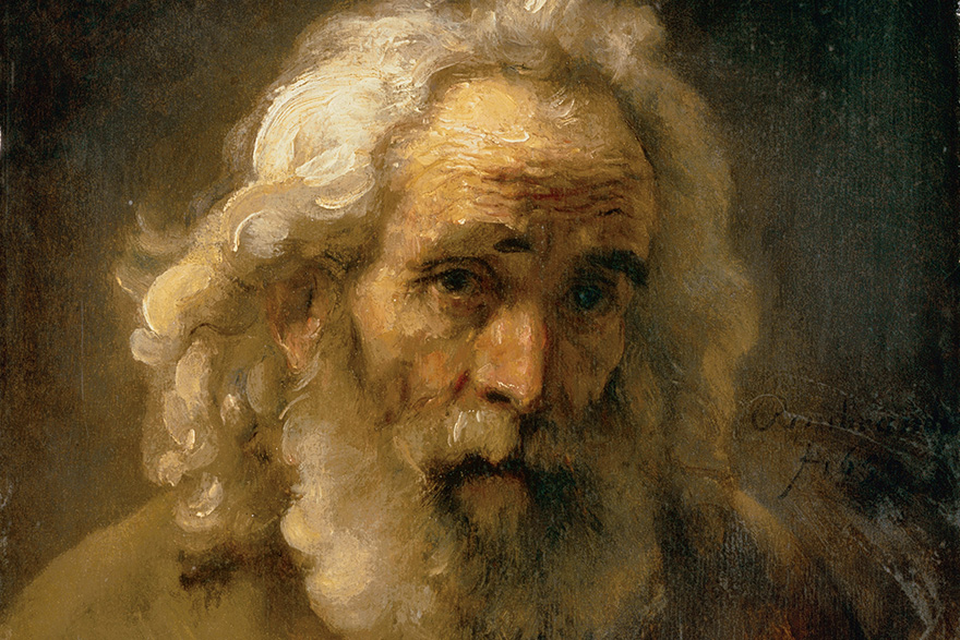 "[photo of Rembrandt's painting ""Head of an Old Man with Curly Hair""]"