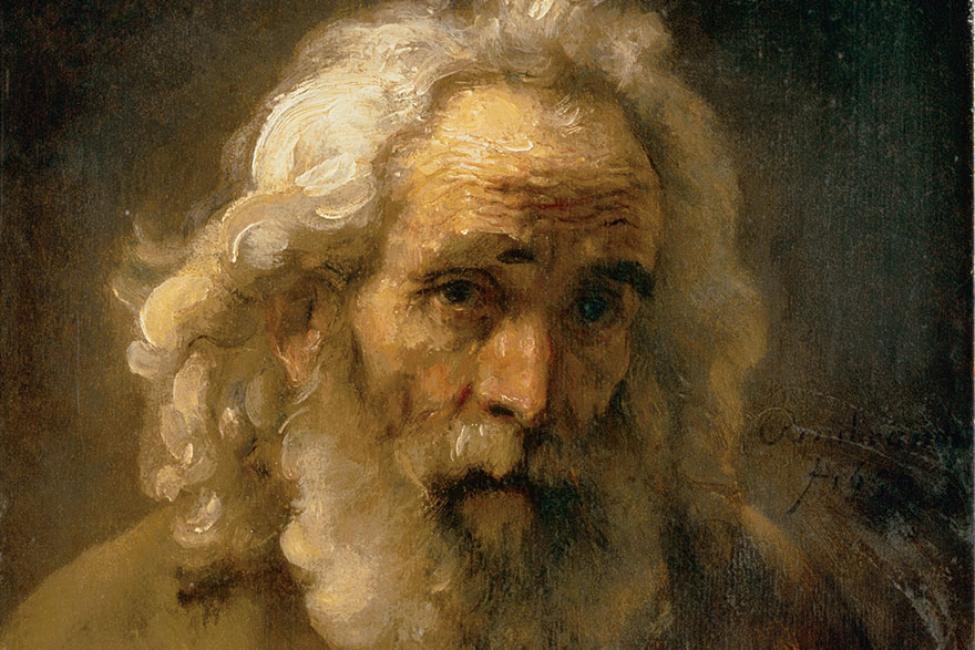 "[photo of Rembrandt's painting ""Head of an Old Man with Curly Hair"""