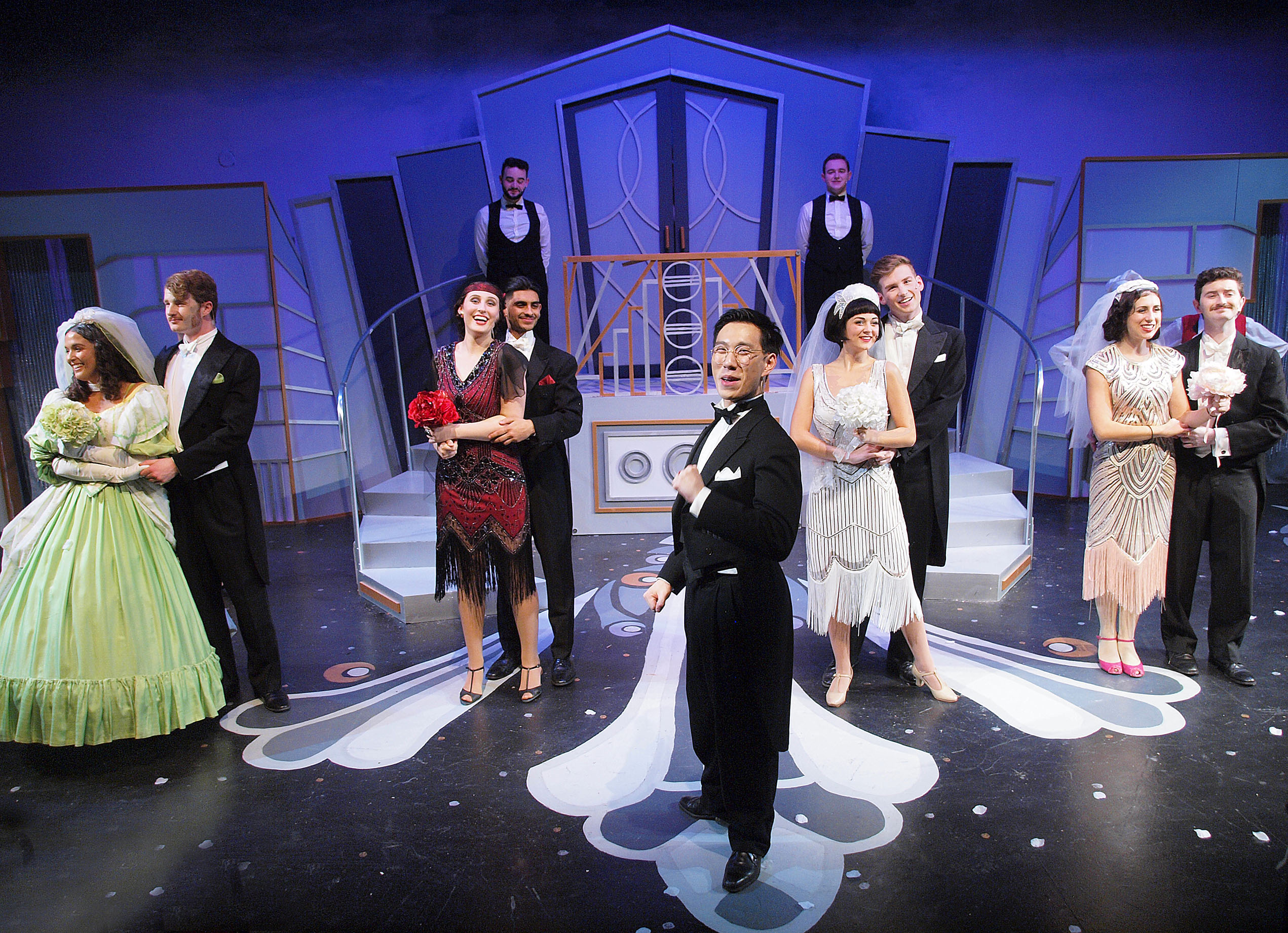 [photo of actors on stage during a production of The Drowsy Chaperone]