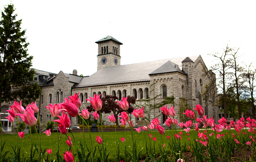 [photo of Grant Hall with tulips]