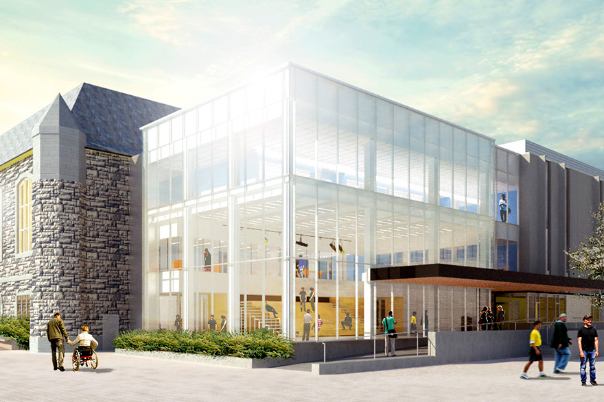 [Architect's rendering of the Innovation and Wellness Centre, as seen from Union St. and Division St.]