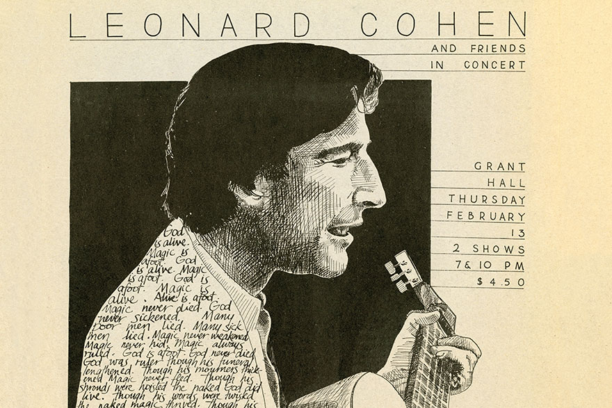[photo of a 1975 poster promoting a Leonard Cohen concert]
