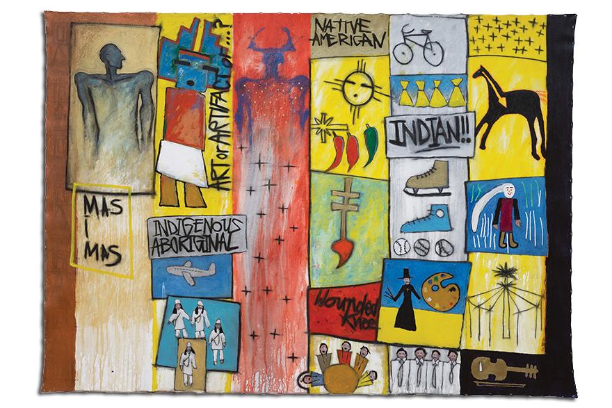 [Gerald McMaster, niya nêhiyaw, 1993, acrylic and graphite on unstretched canvas]