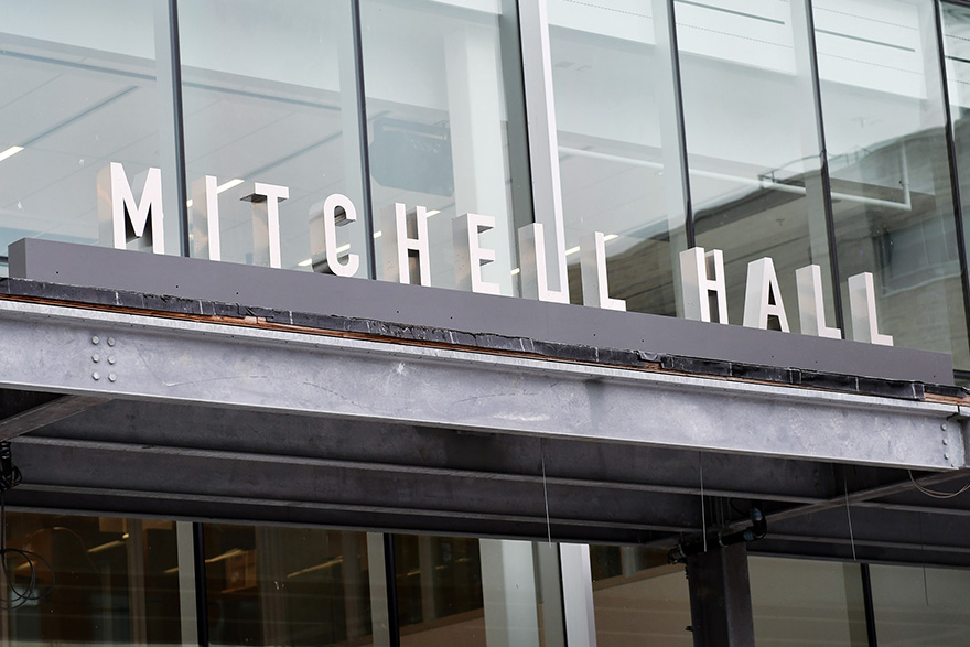[photo of the new signage at Mitchell Hall]