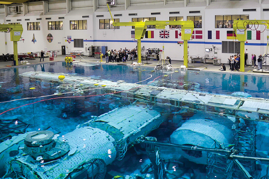 [photo of pool at NASA's Neutral Buoyancy Lab]