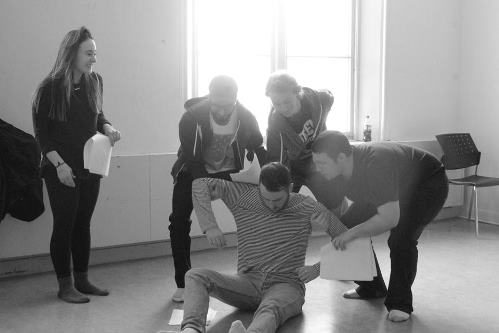 [photo of actors rehearsing On the Run]