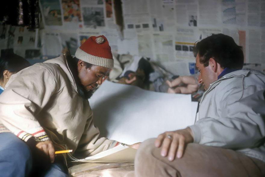 [Sakkiasie Arreak and Terry Ryan near Clyde River, Nunavut, in early 1964]