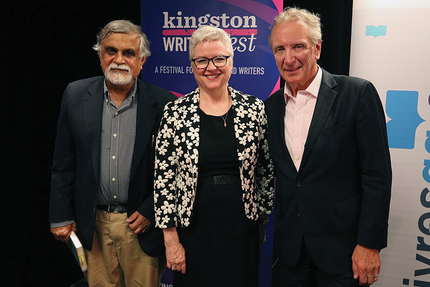 [photo of Barbara Bell with colleagues at the 2019 Kingston WritersFest]